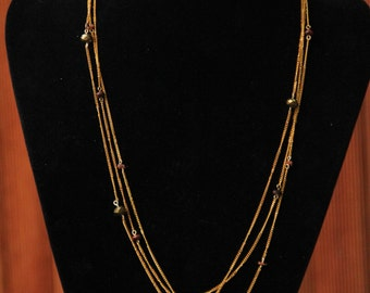 Brass Coppery Multiple Chain Necklace Medium Length