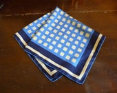 City Lights Abstract Vintage Silk Windows Pocket Square 1980s Blue Yellow