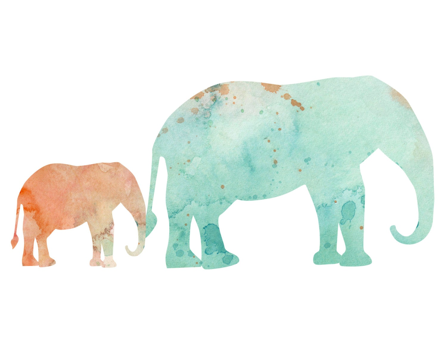 Peach and Mint Elephants holding tails by TheDailyWatercolor