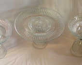 Set of 3 Wine Glass Serving Dishes. Cake Stand. Serving Bowl. Table Centerpiece.