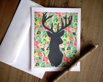 Floral Deer Cards: Blank Stationery