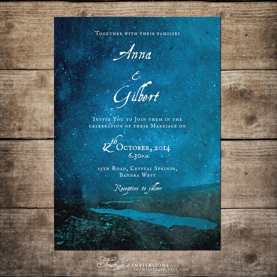 Starry Night Wedding Invitation Blue Wedding By