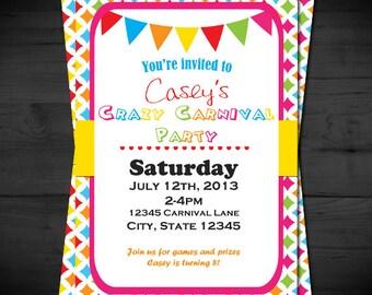 Crazy Colorful Carnival Invitation