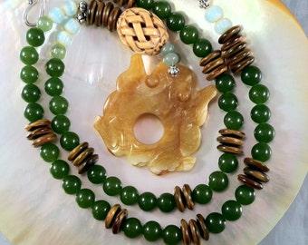 Jade and Frog Necklace/ Statement Jade Necklace/ Green Jade Necklace/