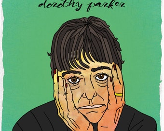 """NEW Dorothy Parker Illustration with a Quotation---11""""x17"""" Art Print"""