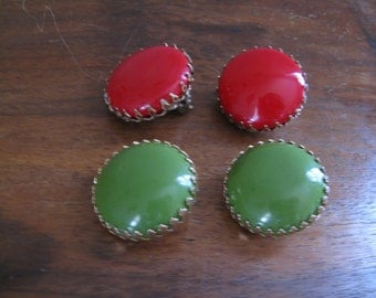 60s Red and Green Clip On Earrings / Two Pair