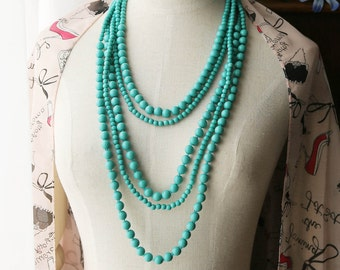 Multi Strand Statement Necklace Turquoise Aqua