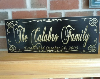 Last Name Family Sign Personalized Custom Made Carved Wooden Wedding Anniversary Marriage Engraved Plaque Housewarming Gift Poplar 83