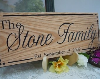 Family Last Name Sign Personalized Wooden Carved Established Date Wedding Marriage Anniversary Gift Housewarming Engraved Plaque Oak 76