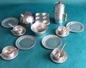 RESERVED ********Vintage tin toy dishes 20 piece set Tea cups tea kettle