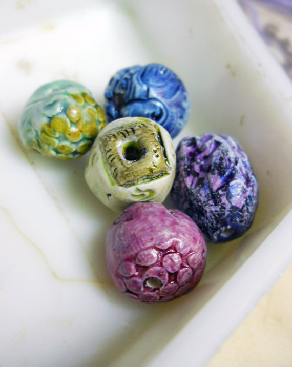 Polymer Clay Beads - 5 Rustic Glazed Beads -  Textured Rounds, Illustrated Pod - Purple, Blue, Metallic Gold - Colorful Art Bead Set