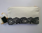 SALE Small clutch-purse with lace print