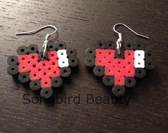 Heart meter earrings perler beads video game geekery 8 bit zelda