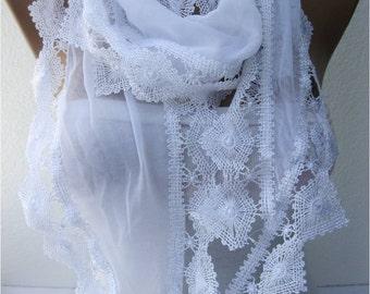 White scarf ,women scarves - Lace Scarf -  fashion scarf - gift scarves -Shawl- Fashion Shawls