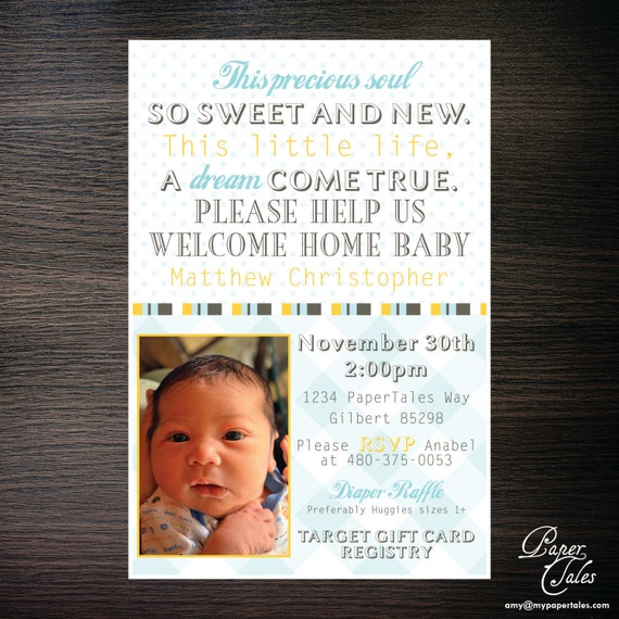 Welcome home new baby shower invitations by papertalescustom for Welcome home new baby decorations