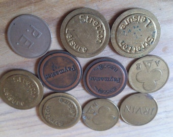 vintage assorted games machine tokens