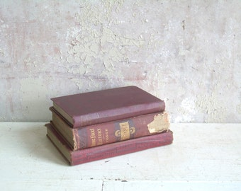 Vintage Book Bundle 3 Volumes Shades of Red Oxblood Instant Collection