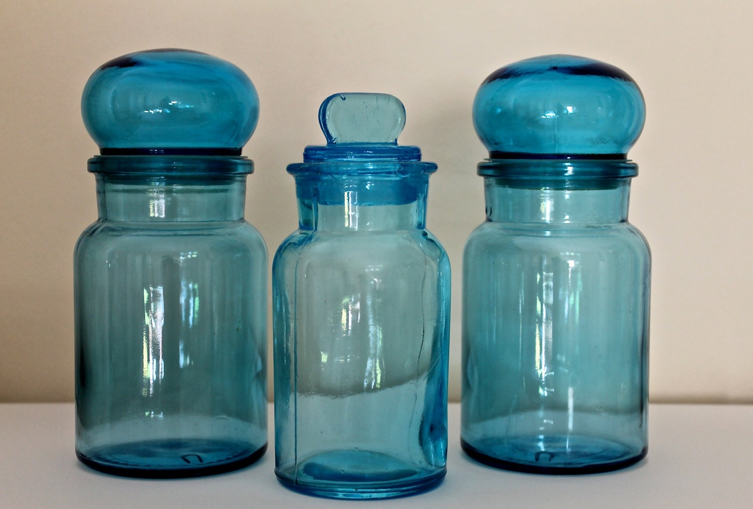 Vintage art deco belgium blue glass bottles jars set of 3 - Deco vintage belgique ...