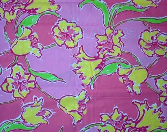 Lilly Pulitzer Fabric in Day Lily Punch Pink (pink, yellow, lillies, floral)