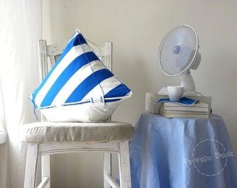 SALE -20% Nautical Pillow Big Yacht - Nautical Art, Sailor Style, maritime home decor, classic white/blue, anchor. Unique gift for sailor!