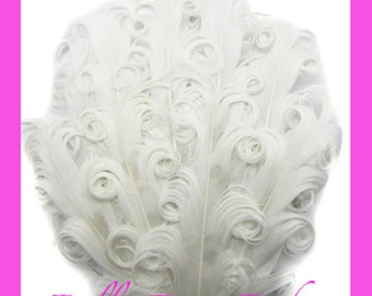 Nagorie curled Feather Pad - Elegant curly goose feathers white color for vintage headband DIY for Photo prop