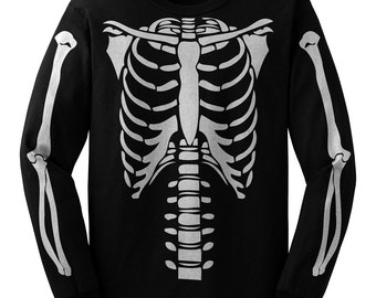 Skeleton Torso Long sleeve Halloween Costume T-shirt (Front Only)