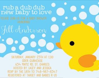 Baby Shower Invitation, Digital File, Rubber Duck Gender Neutral Theme