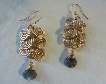16 gauge goldfilled wire Eygptian coil earrings, three tiers of interlocking coils, suspending large faceted labradorite briolettes