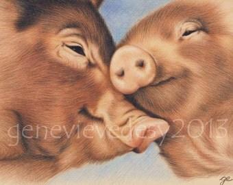 8x10 Print - Pigs Art Print - Wildlife art print of a pig drawing, 8 x 10 in