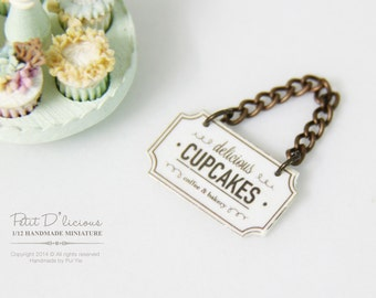 Handmade Dollhouse Miniature Cupcakes Bakery Hanging Sign