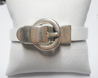 "10mm Flat Buckle Magnetic Clasp with Belt like ""catch"", 10mm Flat Leather Finding"