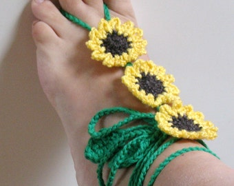 Crochet Beach Anklet, Crochet Anklet, Sunflower Anklet, Pool Sandals, Summer Accessories, Body Jewelry, Yoga Jewelry, Yoga Sandals