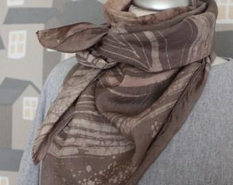 ON SALE Vintage BATIC Silk Scarf, 90's scarf, Aubergine/ Pink Batic Chic