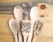 Wood burned kitchen utensils, bamboo wooden spoons,