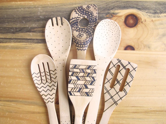 Wood Burned Kitchen Utensils Bamboo Wooden Spoons