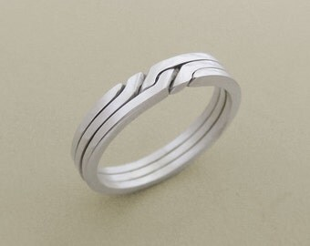 RONRING 3 - Unique Puzzle Rings by PuzzleRingMaker - Sterling Silver or Gold - 3 Bands