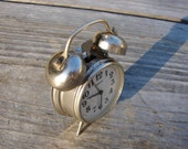 Rare Vintage small RAKETA Mechanical alarm CLOCK Made in USSR in 1980s / Soviet timepieces with top bell