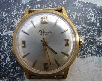 Soviet vintage Gold Plated Au 20 stamped wrist watch RAKETA / Working watch Petrodvoretz factory Russian Soviet Vintage