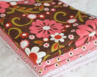 Pink and Brown Baby Burp Cloths