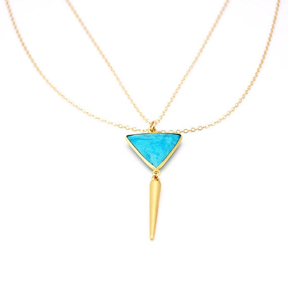 Turquoise Spike Necklace with gold filled chain