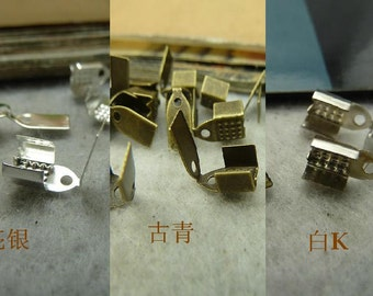 200pcs 4x9mm Leather Rope Clips, Hide Rope Clamps AC4236