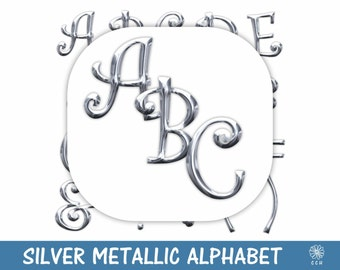 Shiny Silver Metallic Digital Alphabet and Numbers Clipart Set - curly font style - Commercial Use - Instant Download (A003)