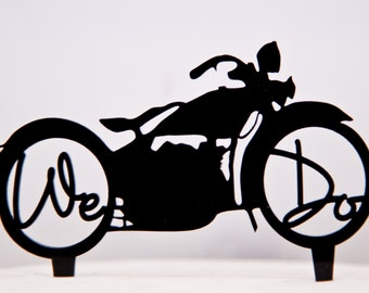 Harley Davidson Motorcycle Wedding Cake Topper with We Do in the wheels - Motorcylce Cake Topper - Harley Cake Topper