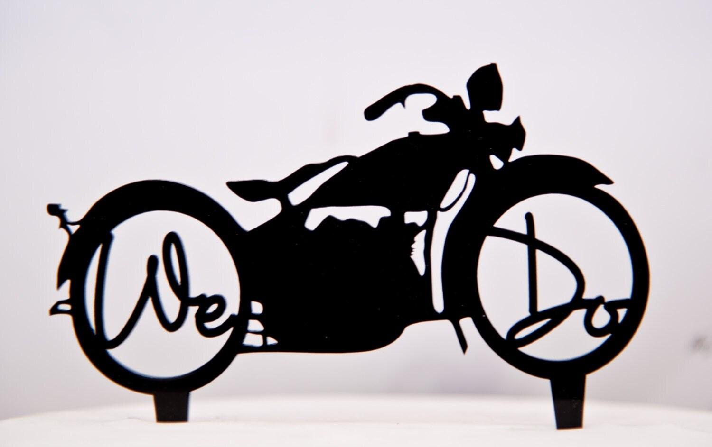 We Do Harley Davidson Motorcycle Wedding Cake Topper