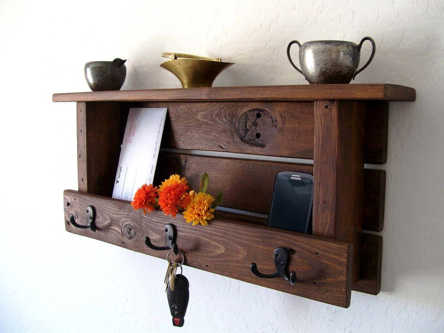 Rustic Entryway Organizer Mail Organizer Mail and Key Holder