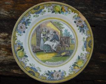 Le Retour du Soldat CHOISY Le Roi Antique French Decorative Transfer Printed Plate 19th Cent Stamped Porcelain de Choisy Unusual Polychrome