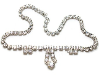 Vintage Clear Rhinestone Necklace - Teardrop Rhinestone Necklace - Sparkling Crystal Necklace