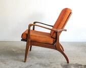 mid century lounge chair, danish chair, mid century chair, danish modern, eames era, beautiful curves, classic orange, vintage