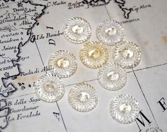 Vintage transparent buttons - Set of 9