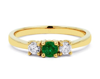 Etsuko 9ct Yellow Gold Emerald and Diamond Ring